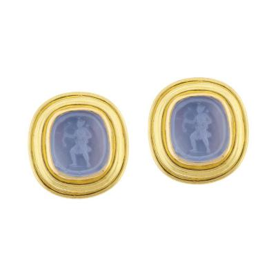 Elizabeth Locke Elizabeth Locke Pan Venetian Glass Intaglio Earrings