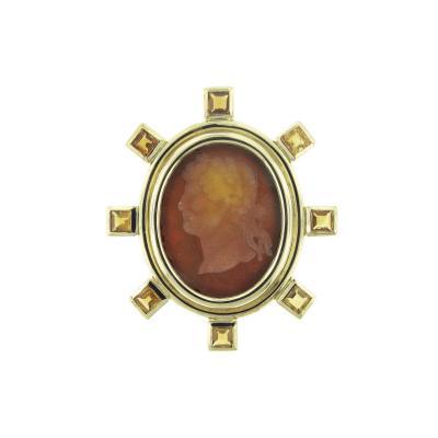 Elizabeth Locke Elizabeth Locke Venetian Glass Intaglio Gold Brooch