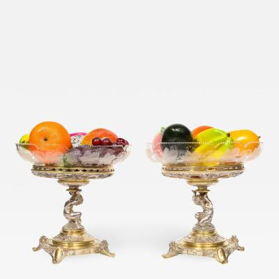Elkington Co a Pair of Gilt and Silvered Bronze Tazza Centerpieces