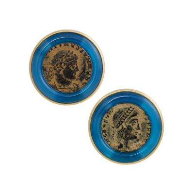 Ella Gafter Ella Gafter Antique Copper Coin Cufflinks Yellow Gold