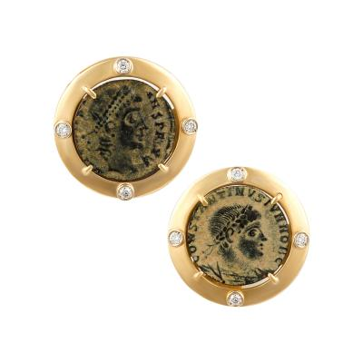 Ella Gafter Ella Gafter Antique Copper Coin Cufflinks Yellow Gold Diamonds