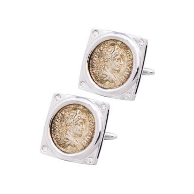 Ella Gafter Ella Gafter Antique Silver Coin Cufflinks Diamonds White Gold