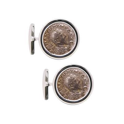 Ella Gafter Ella Gafter Antique Silver Coin Cufflinks White Gold