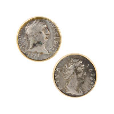 Ella Gafter Ella Gafter Antique Silver Coin Cufflinks Yellow Gold