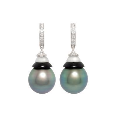 Ella Gafter Ella Gafter Black Tahitian Pearl Diamond Earrings White Gold