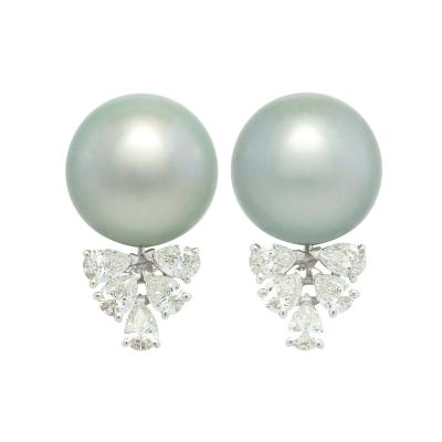 Ella Gafter Ella Gafter Black Tahitian Pearl and Diamond Clip On Earrings