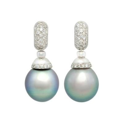 Ella Gafter Ella Gafter Black Tahitian Pearl and Diamond Drop Earrings