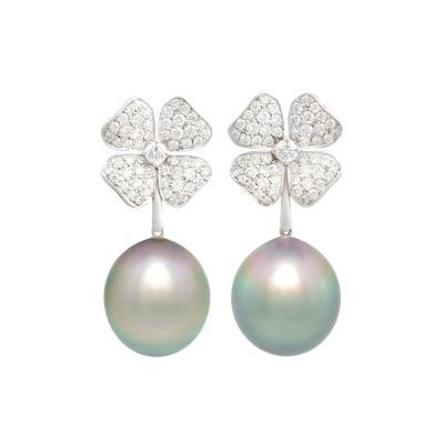 Ella Gafter Ella Gafter Black Tahitian Pearl and Diamond Flower Drop Earrings