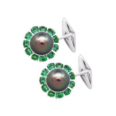 Ella Gafter Ella Gafter Black Tahitian Pearl and Emerald Cufflinks White Gold