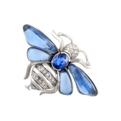 Ella Gafter Ella Gafter Blue Sapphire Diamond Butterfly Brooch Pin