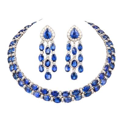 Ella Gafter Ella Gafter Blue Sapphire Diamond Necklace Chandelier Earrings Set