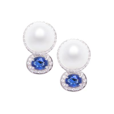 Ella Gafter Ella Gafter Blue Sapphire South Sea Pearl Clip On Earrings with Diamonds
