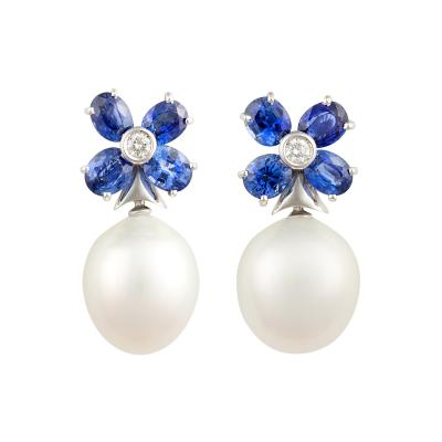 Ella Gafter Ella Gafter Blue Sapphire South Sea Pearl and Diamond Flower Earrings