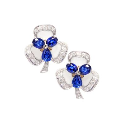 Ella Gafter Ella Gafter Blue Sapphire and Diamond Clip On Earrings Clover Flower Design