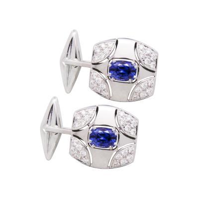 Ella Gafter Ella Gafter Blue Sapphire and Diamond Cufflinks White Gold