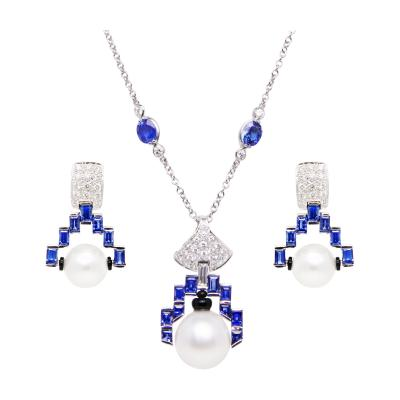 Ella Gafter Ella Gafter Blue Sapphire and Diamond Necklace and Earrings Set with Pearl