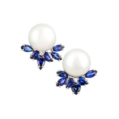 Ella Gafter Ella Gafter Blue Sapphire and South Sea Pearl Diamond Earrings