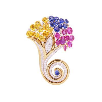 Ella Gafter Ella Gafter Cornucopia Sapphire Diamond Brooch Pin
