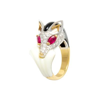 Ella Gafter Ella Gafter Diamond Fox Ring Ruby