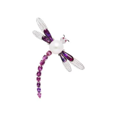 Ella Gafter Ella Gafter Dragonfly Brooch Pin with Sapphire and Diamonds