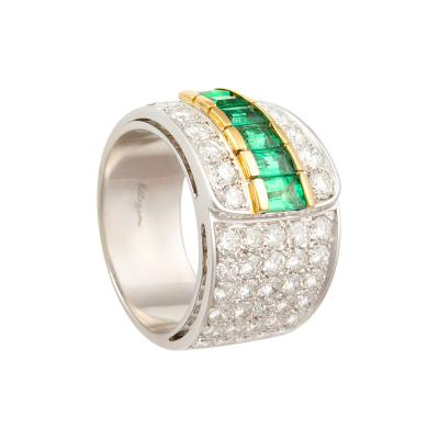 Ella Gafter Ella Gafter Emerald Diamond Band Ring