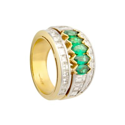 Ella Gafter Ella Gafter Emerald and Diamond Band