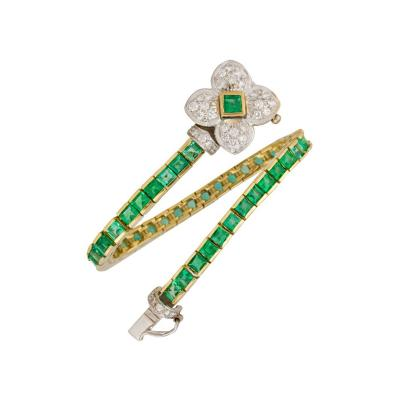 Ella Gafter Ella Gafter Emerald and Diamond Bracelet