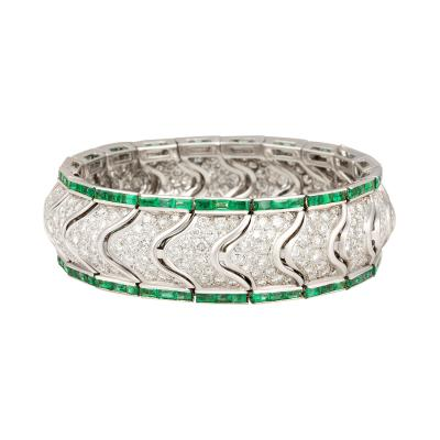 Ella Gafter Ella Gafter Emerald and Diamond Cuff Bracelet