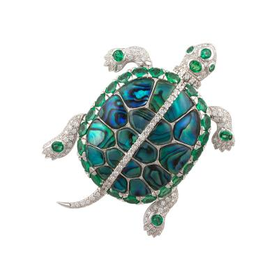 Ella Gafter Ella Gafter Emerald and Diamond Turtle Brooch Pin