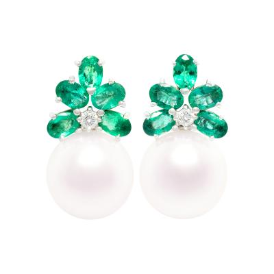 Ella Gafter Ella Gafter Emerald and South Sea Pearl Earrings Diamonds Flower Design