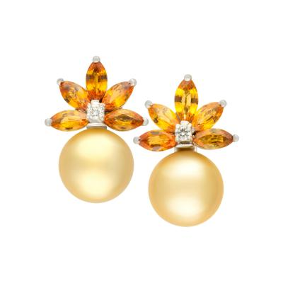 Ella Gafter Ella Gafter Golden Pearl Diamond Yellow Sapphire Earrings