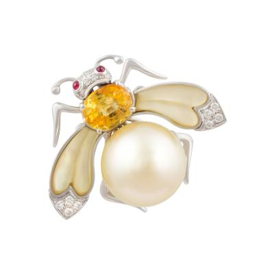 Ella Gafter Ella Gafter Golden Pearl Diamonds Bee Brooch Pin with Yellow Sapphire