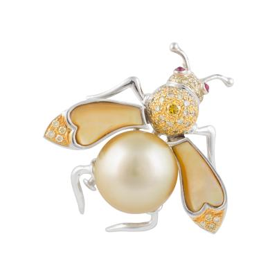 Ella Gafter Ella Gafter Golden Pearl Fancy Color Diamonds Bee Brooch Pin