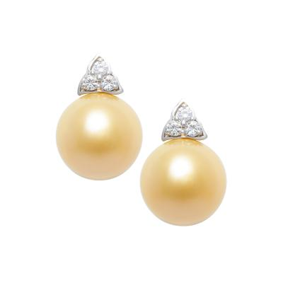 Ella Gafter Ella Gafter Golden Pearl and Diamond Clip on Earrings White Gold