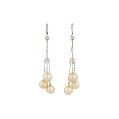Ella Gafter Ella Gafter Golden Pearl and Diamond Drop Earrings