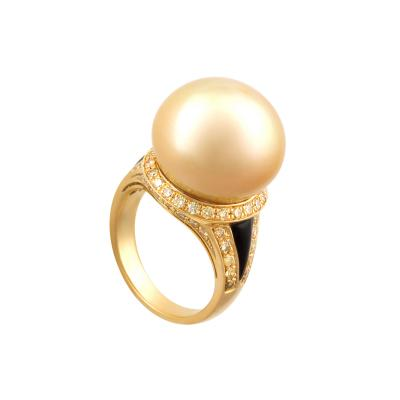 Ella Gafter Ella Gafter Golden Pearl and Diamond Ring Onyx