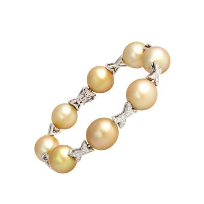 Ella Gafter Ella Gafter Golden South Sea Pearl Diamond Bracelet