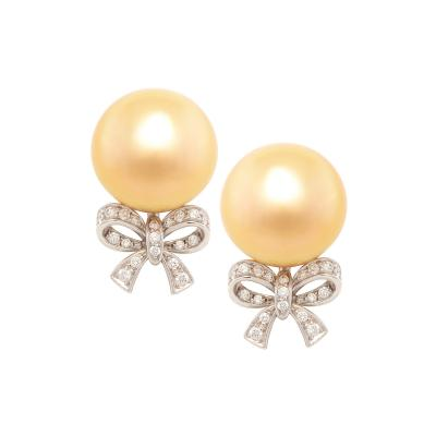 Ella Gafter Ella Gafter Golden South Sea Pearl and Diamond Bow Earrings