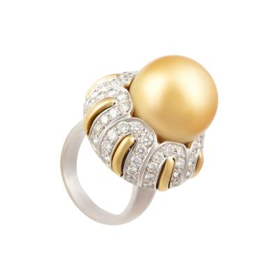 Ella Gafter Ella Gafter Golden South Sea Pearl and Diamond Ring