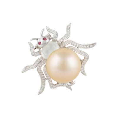 Ella Gafter Ella Gafter Golden South Sea Pearl and Diamond Spider Brooch Pin