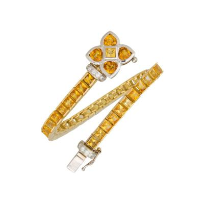 Ella Gafter Ella Gafter Golden Yellow Sapphire Diamond Line Color Bracelet