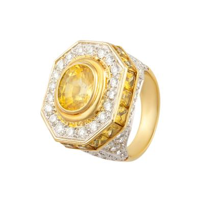 Ella Gafter Ella Gafter Golden Yellow Sapphire Diamond Pinky Cocktail Ring