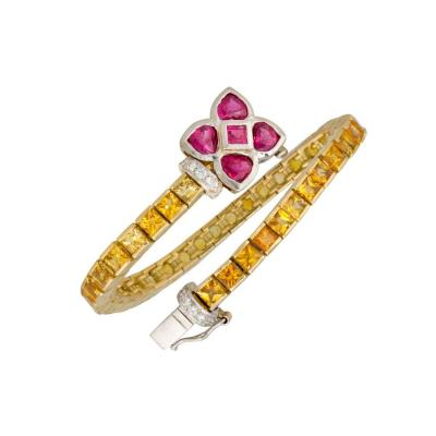 Ella Gafter Ella Gafter Golden Yellow Sapphire Diamonds Line Color Bracelet