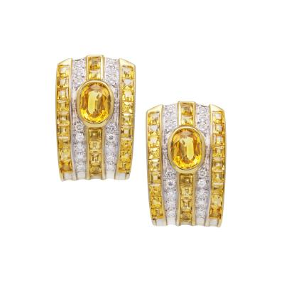 Ella Gafter Ella Gafter Golden Yellow Sapphire and Diamond Clip On Earrings