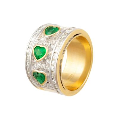 Ella Gafter Ella Gafter Heart Shape Emerald Diamond Ring