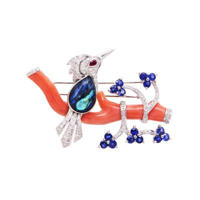 Ella Gafter Ella Gafter Love Bird Diamond Brooch Pin with Coral and Blue Sapphire