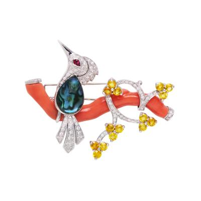 Ella Gafter Ella Gafter Love Bird Diamond Brooch Pin with Coral and Yellow Sapphire