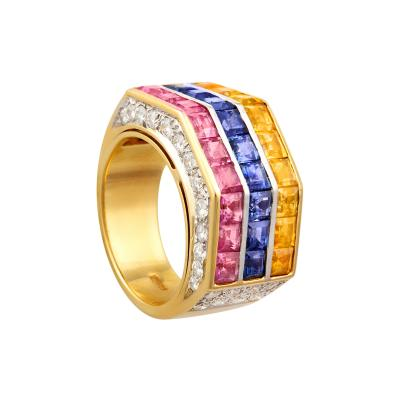 Ella Gafter Ella Gafter Multicolor Sapphire Diamond Cocktail Ring