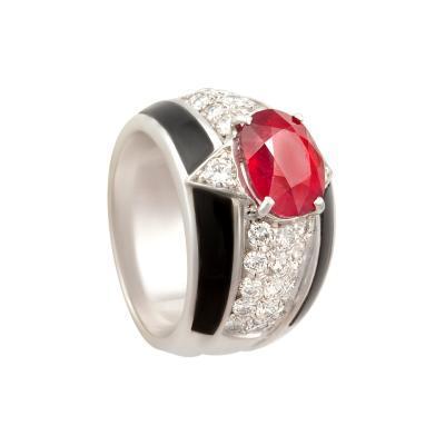 Ella Gafter Ella Gafter Onyx Ruby Diamond Cocktail Ring