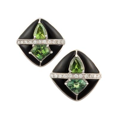 Ella Gafter Ella Gafter Onyx and Diamond Cufflinks Green Sapphire